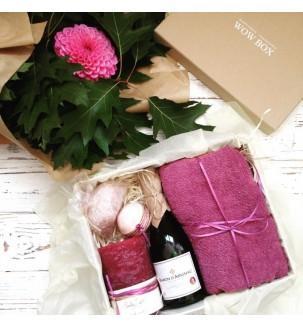 СПА набор с вином девушке подарок от вау бокс