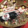 Дерев'яне серце з солодощами,шампанським та свічками 2 вид