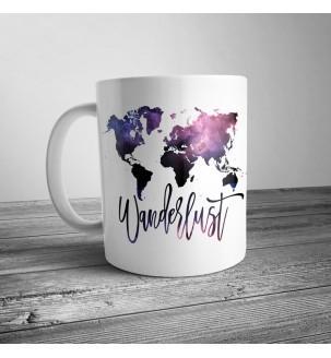 """Чашка с принтом """"Карта мира"""" фиолетовая"""