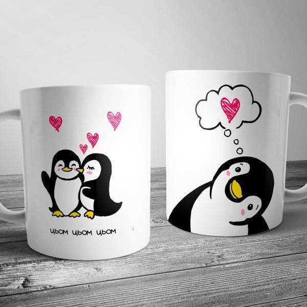 """Чашка с пингвинами """"Цьом"""""""