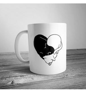 Чашка з котиками в сердце, инь янь котики