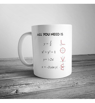 """Чашка с формулами """"All you need is love"""""""