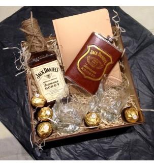 Подарунковий набір Jack Daniel's з блокнотом та бокалами