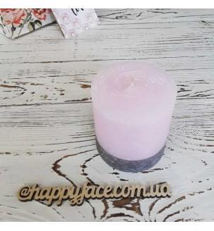 Свеча декоративная розово-серая 7,5х7 см